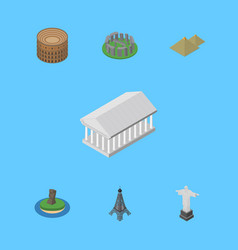 Isometric cities set of england egypt coliseum vector