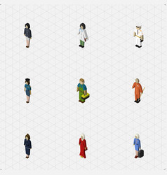 Isometric people set of cleaner female vector