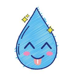 kawaii cute funny water drop vector image