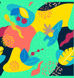 liquid geometric background with a tropical motif vector image