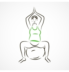 Lotus pose on fitball vector
