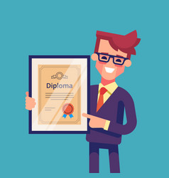 Man holding diploma in his hands vector