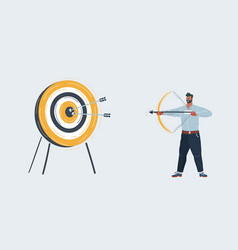 man shoots a bow at a target on white vector image