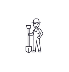 man with a shovel line icon sign vector image