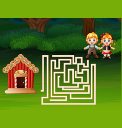 maze game of hansel and gretel find a path to ging vector image