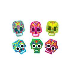 mexican sugar skulls set day dead colorful vector image