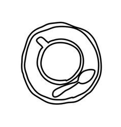 Monochrome contour hand drawn of coffee cup top vector