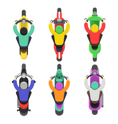 motorcycle top view topping of motor bicycle with vector image