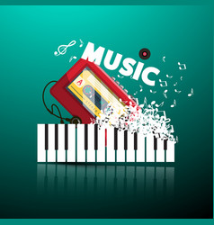 music background with walkman notes piano keys vector image