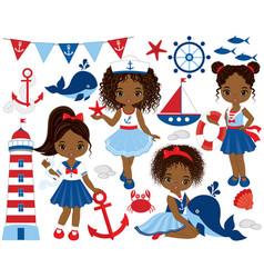 Nautical cute little african american girls vector