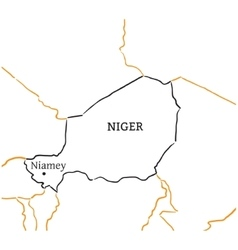 Niger hand-drawn sketch map vector