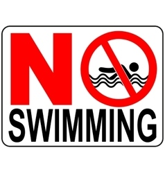 No swimming warning signs vector
