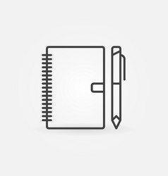 notebook with pen outline icon business vector image