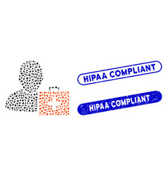 oval mosaic first aid man with distress hipaa vector image