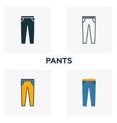 pants icon set four elements in diferent styles vector image