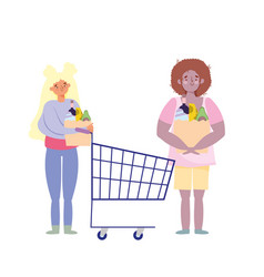 People hoarding purchase man and woman vector