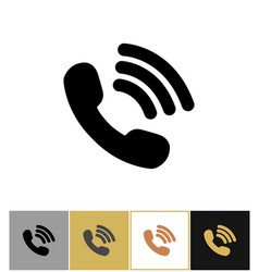 Phone icon telephon talking symbol on gold and vector