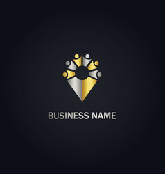 Pin position group unity gold logo vector