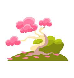 pink tree bush and fallen leaves bonsai vector image
