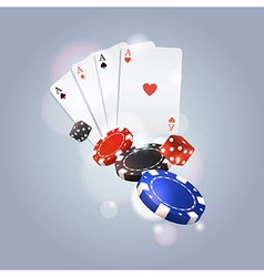 poker background with playing cards chips and vector image