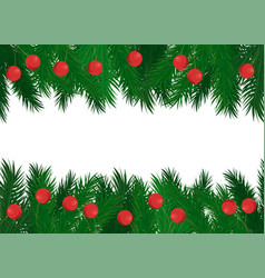 red balls on green spruce branches frame vector image