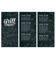restaurant or cafe menu bbq with price grill menu vector image