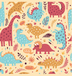 seamless pattern cute dinosaurs vector image