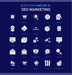 Seo marketing white icon over blue background 25 vector