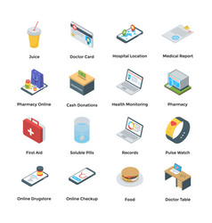 Set care and help isometric icons vector