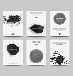 set modern posters with geometrical shapes and vector image