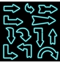 Set neon arrows of different shapes vector image