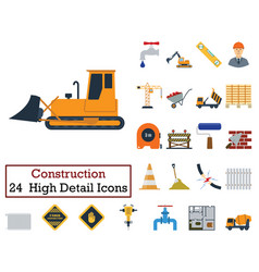 set of 24 construction icons vector image