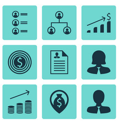 set of 9 hr icons includes job applicants coins vector image