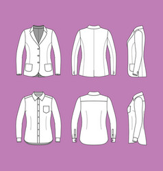Set of a long sleeves shirt and blazer vector