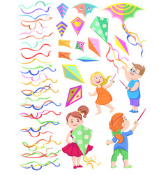 Set of cliparts of children with kites vector