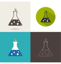 Set of icons with chemical flask vector image