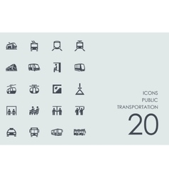 Set of public transportation icons vector