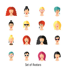 set woman face hairstylein color girls vector image