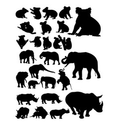 several animal silhouette vector image