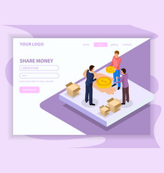 Sharing economy isometric web page vector