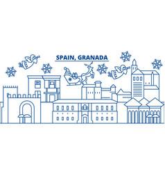 spain granada winter city skyline merry vector image