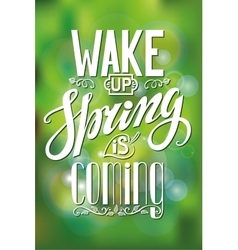 Spring is comingLetteringGreen blurred vector image