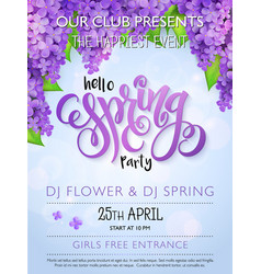 Spring party poster with lettering and vector