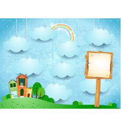 surreal landscape with little town and wooden sign vector image