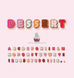 sweet cartoon font decorative colorful letters vector image