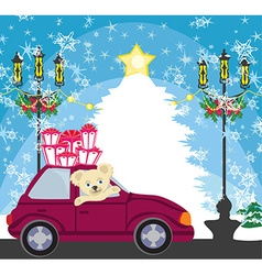 Sweet teddy bear in the car with christmas gift vector