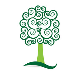 swirly nature tree style icon vector image