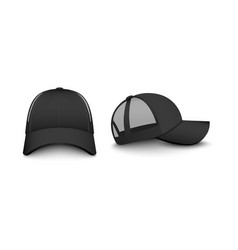 Template trucker cap with mesh set realistic vector
