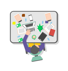 top view workplace of office manager vector image