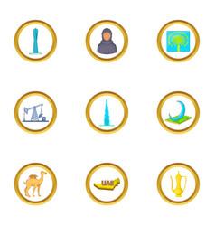 Uae travel icons set cartoon style vector
